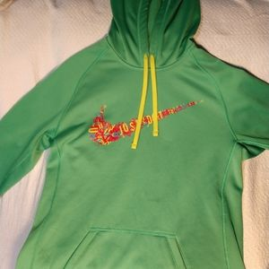 Green Nike pullover hoodie, size S